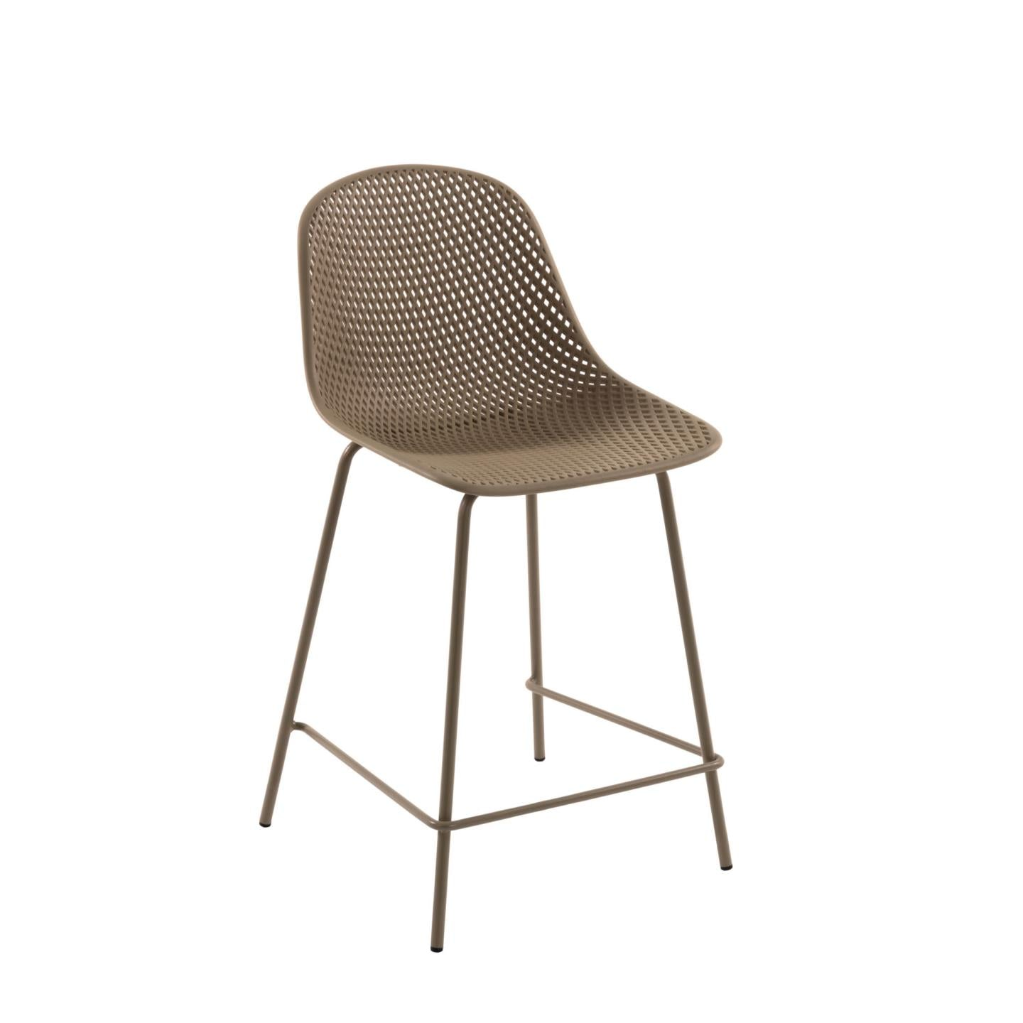 Luino Outdoor Stool Beige Height 65 cm, Barstool - Home-Buy Interiors
