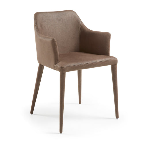 Chad Armchair - Nubuck Fabric Dark Brown, Dining Chair - Home-Buy Interiors