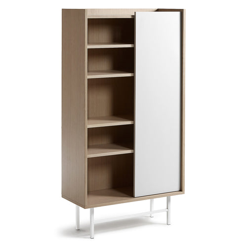 Milly Bookshelf 80 x 154 oak veneer matt white, Sideboards/Display Units - Home-Buy Interiors
