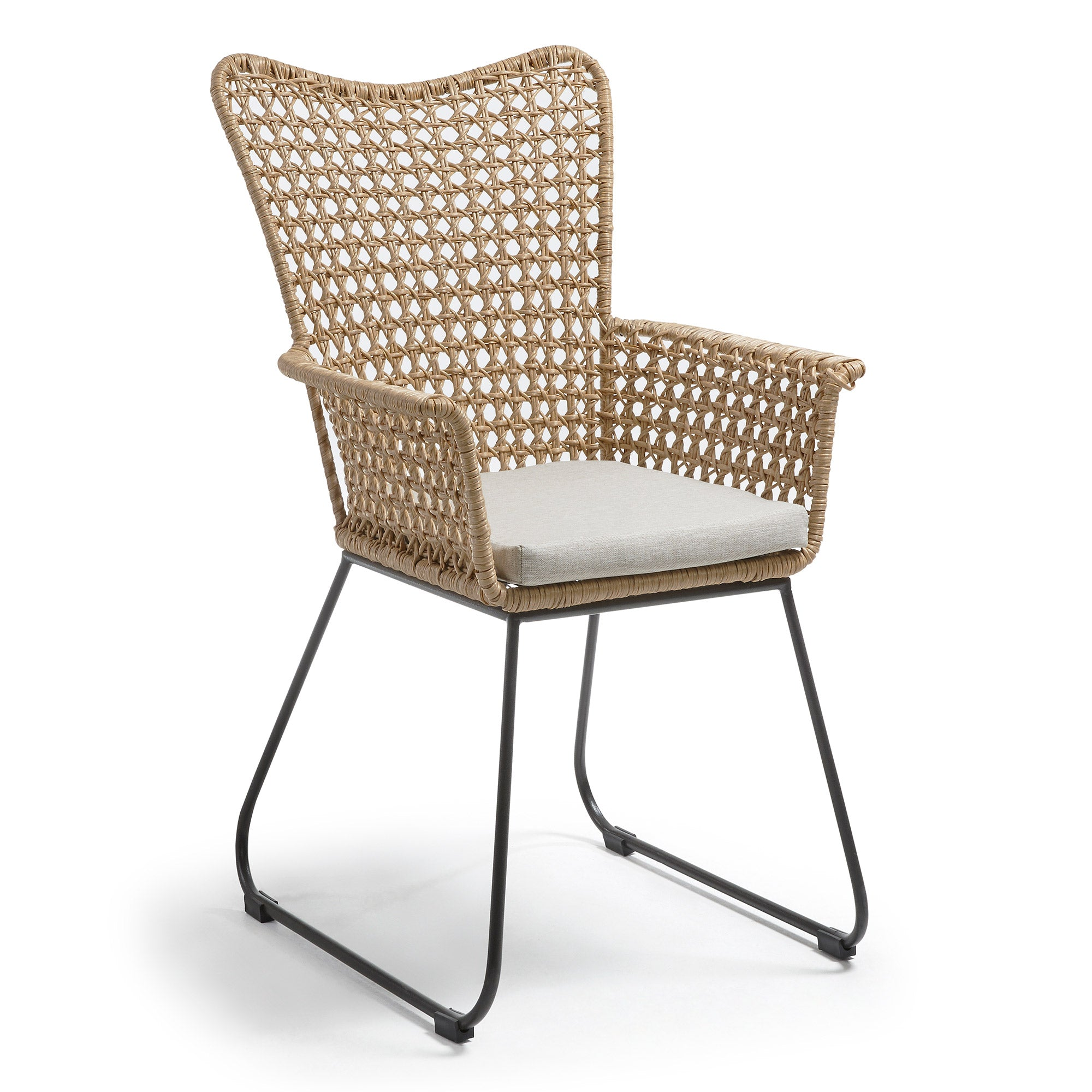 Jay Armchair Metal Dark Grey Poly Rattan Beige, Chair - Home-Buy Interiors