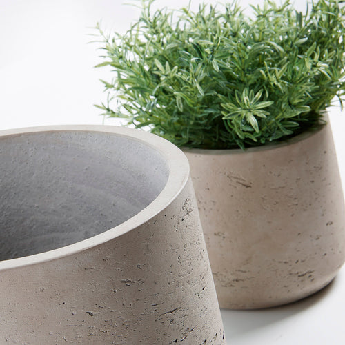 Luxe Set of 2 Planters cement grey, Decor - Home-Buy Interiors