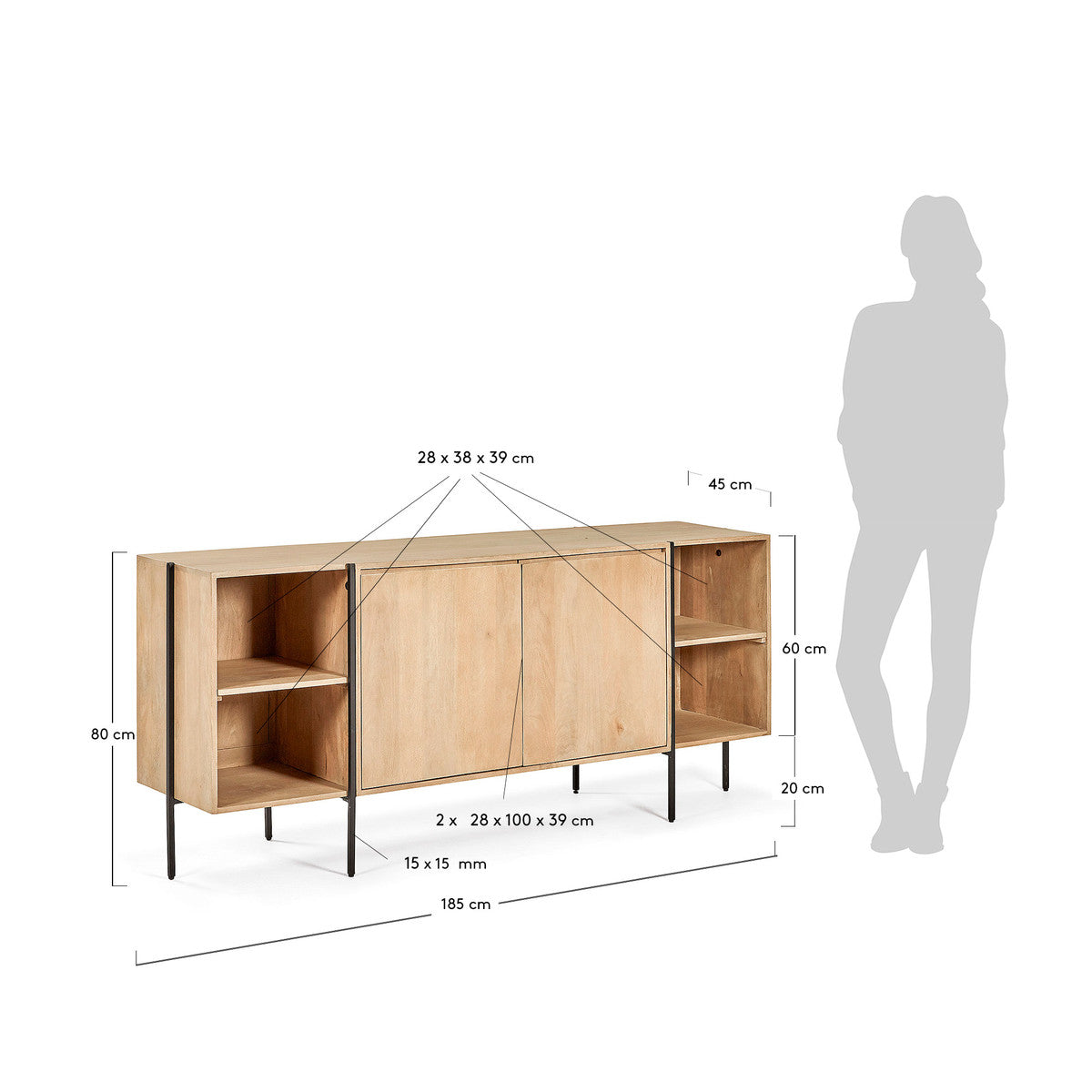 Ellipse Sideboard in solid timber with natural finish