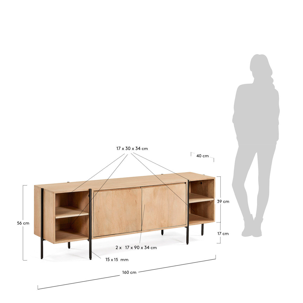 Ellipse TV Stand in Solid Timber with Natural Finish