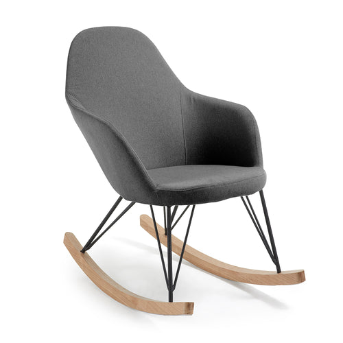 Regina Rocking Chair Metal Black Fabric Dark Grey, Chair - Home-Buy Interiors