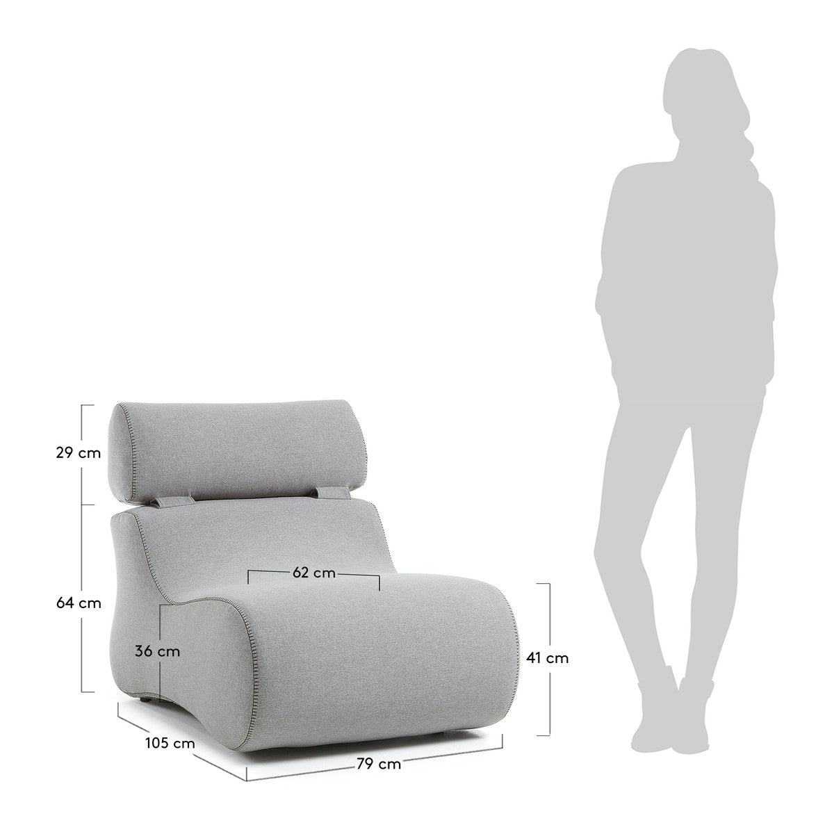 Cocoon Armchair in Grey Fabric