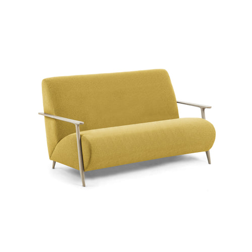 Mariette Sofa 2 Seaters Ash Wood Natural Fabric Mustard, Sofa - Home-Buy Interiors