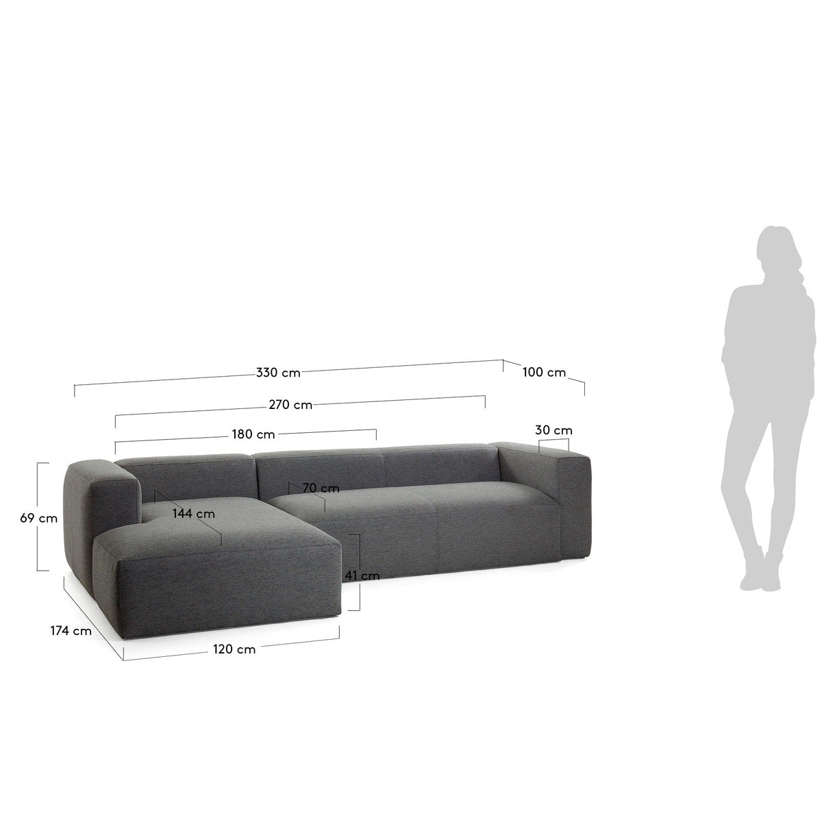 Cube 3 Seat Sofa with Left Chaise in Dark Grey Fabric