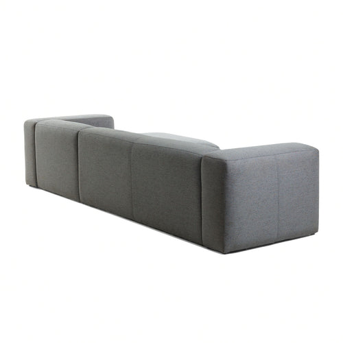 Cube 3 Seat Sofa with Right Chaise in Dark Grey Fabric