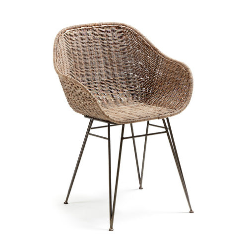 Aston Armchair Metal Grey Natural Rattan, Chair - Home-Buy Interiors