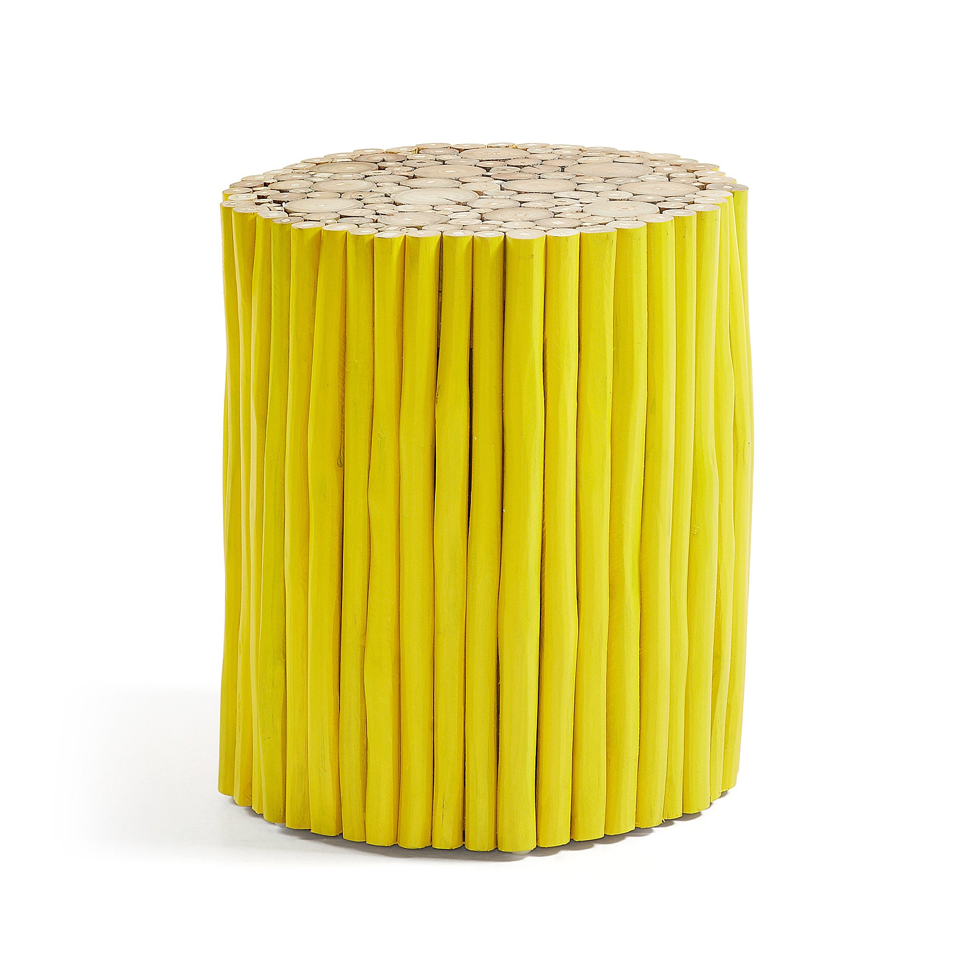 Indo Side Table - Yellow, Stool - Home-Buy Interiors