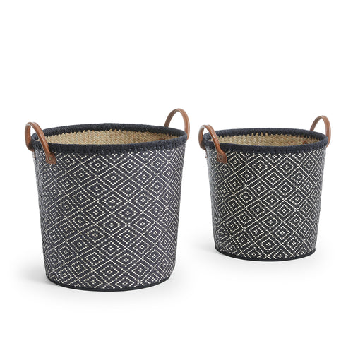 Lane Set 2  baskets palm leaf natural black, Decor - Home-Buy Interiors