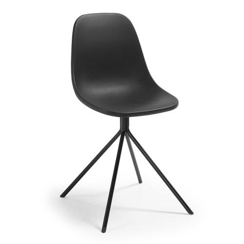 Marco Chair - Legs Epoxy Plastic Seat Black,, Dining Chair - Home-Buy Interiors