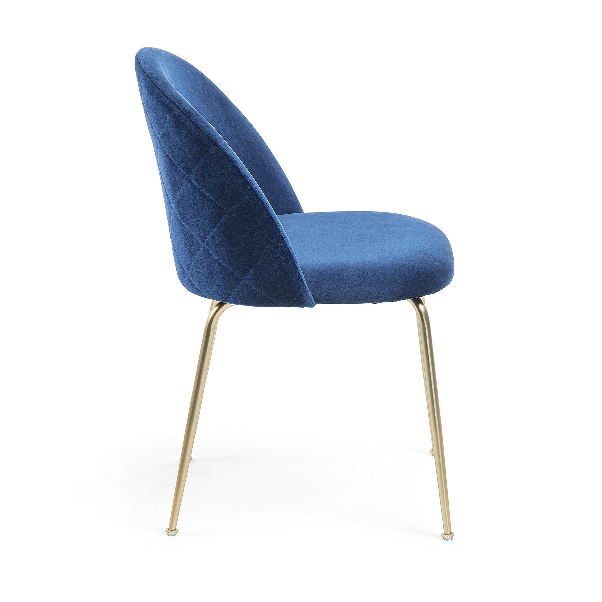 Mystery Dining Chair in Blue Velvet & Gold Legs
