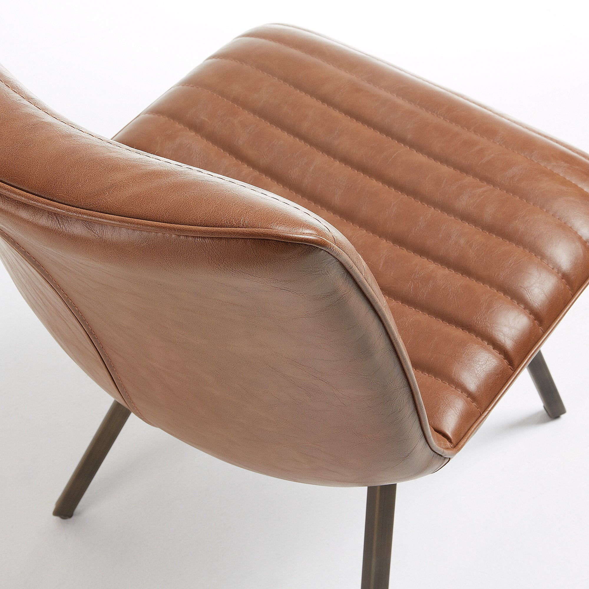 Lianne Chair Upholstered in Rust Synthetic leather
