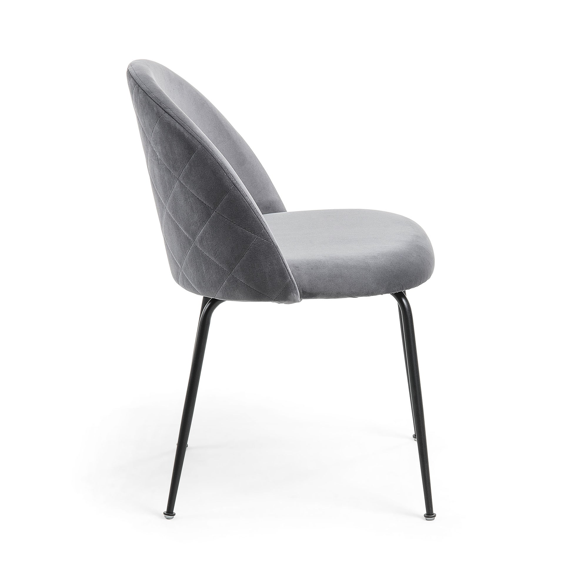 Mystery Dining Chair in Grey Velvet & Black Legs