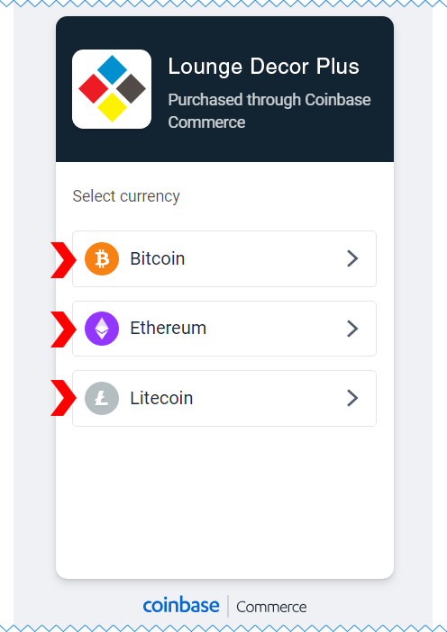 Coinbase Commerce Currency Selection Page