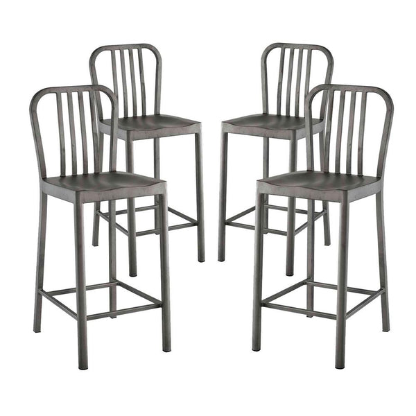 Marvelous Clink Counter Stool Set Of 4 Silver Finish Unemploymentrelief Wooden Chair Designs For Living Room Unemploymentrelieforg
