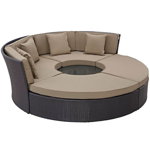 Modway EEI-2171-EXP-MOC-SET Convene 5-piece outdoor daybed set with cocktail table, espresso & mocha finish, contemporary style, perspective view