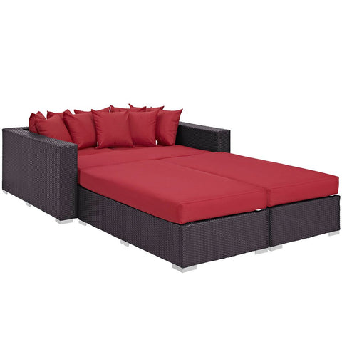 Modway EEI-2160-EXP-RED-SET Convene 4-piece outdoor daybed set with throw pillows, espresso & red finish, contemporary style, perspective