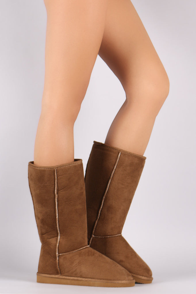 Round Toe Mid Calf Flat Boot