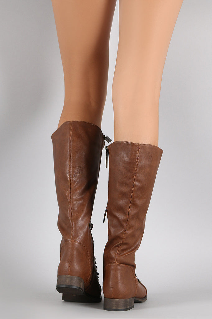 Breckelle Combat Lace Up Knee High Boots
