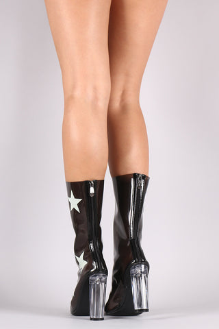 Stars Accent Lucite Pointy Toe Chunky Heeled Boots