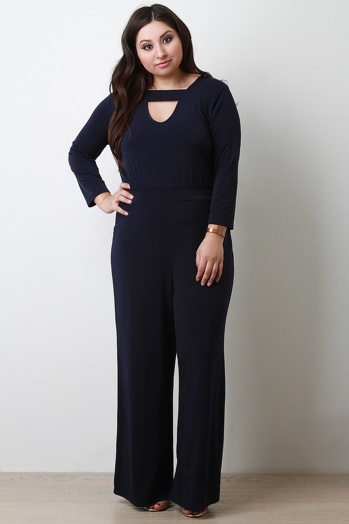 Wide Leg Key Hole Jumpsuit