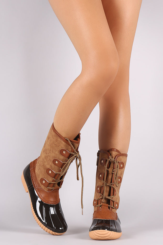 Round Toe Studded Lace Up Duck Mid Calf Boots