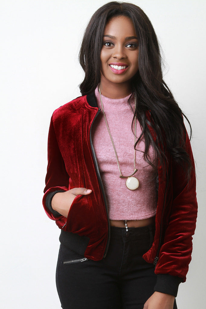 Zipper Pocket Velvet Bomber Jacket