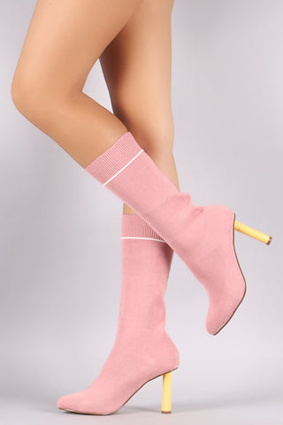 Liliana Stretched Sweater Knit Stiletto Mid-Calf Sock Boots