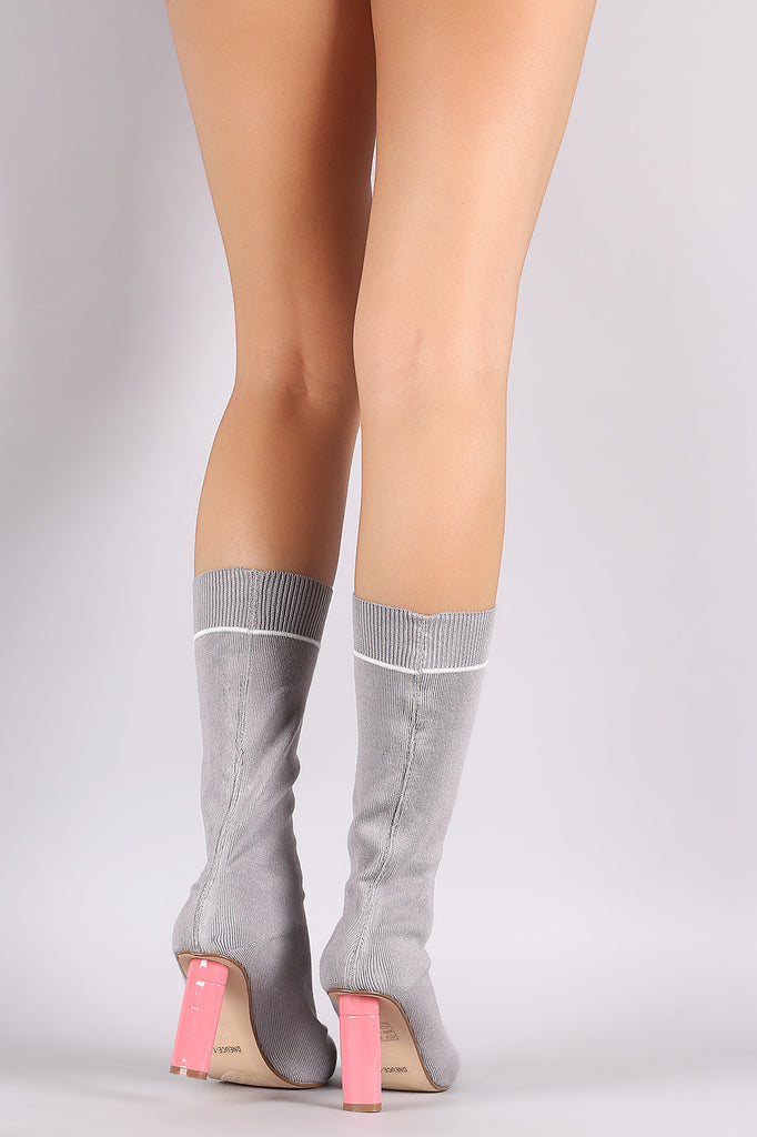 Ribbed Sweater Knit Oval Heeled Mid Calf Boots