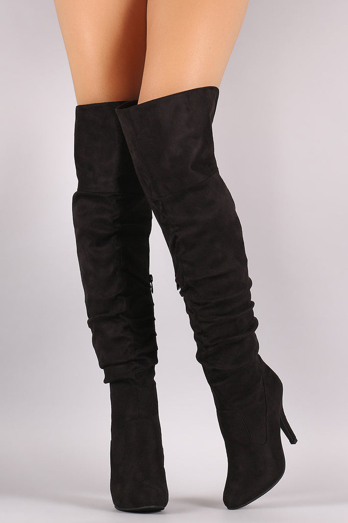Slouchy Suede OTK Almond Toe Stiletto Boots