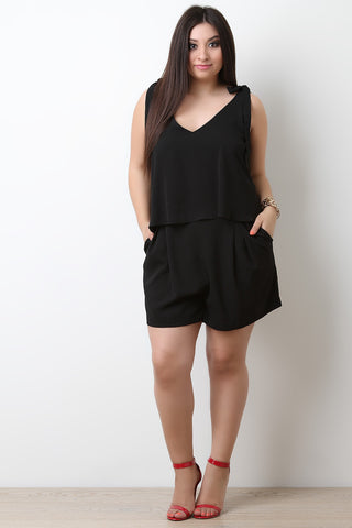 V-Neck Textured Tier Self-Tie Romper