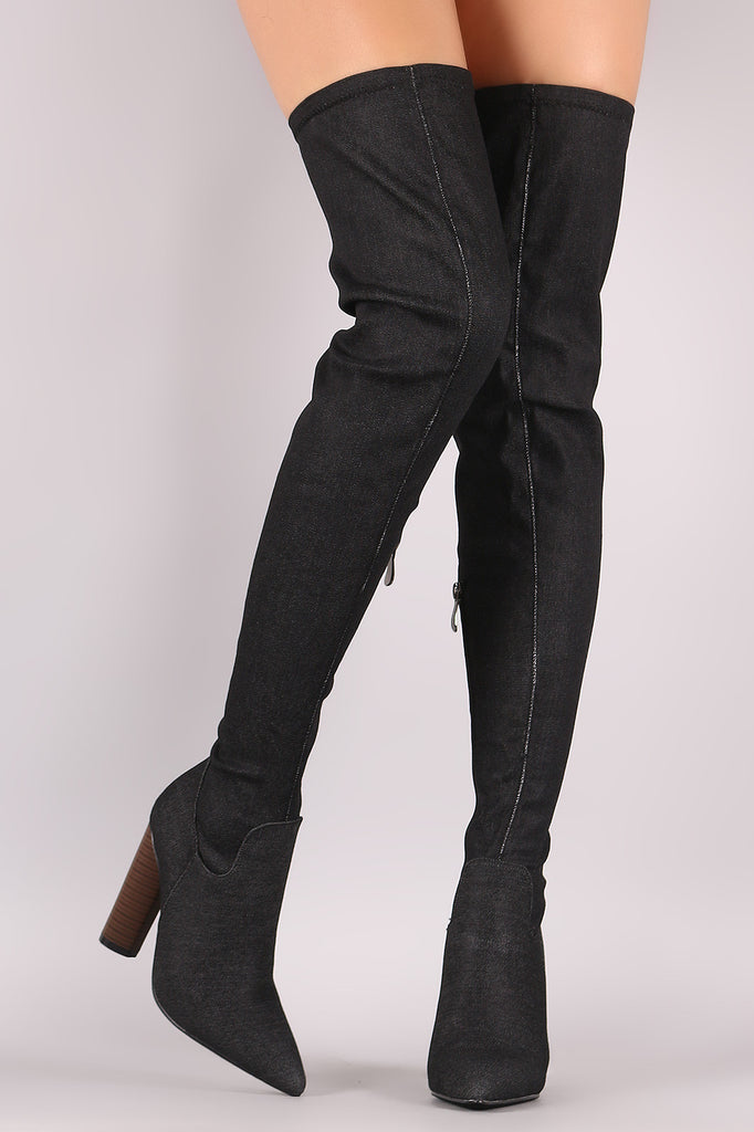Denim Fitted Pointy Toe Round Heeled OTK Boots