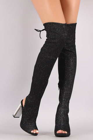 Snake Embossed Chunky Heeled Over-The-Knee Western Boots