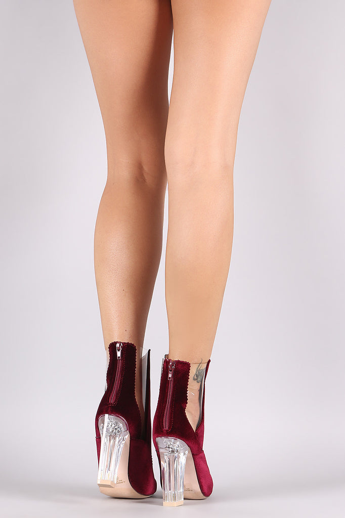 Crushed Velvet Lucite Inset Chunky Perspex Heeled Booties