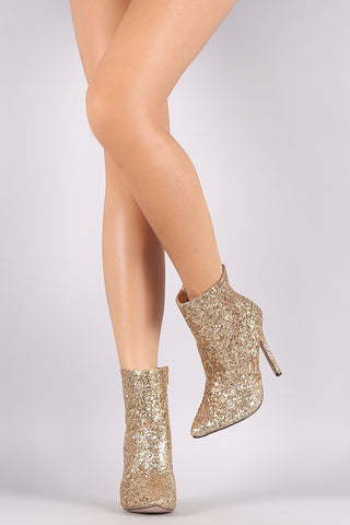 Glitter Pointy Toe Stiletto Booties