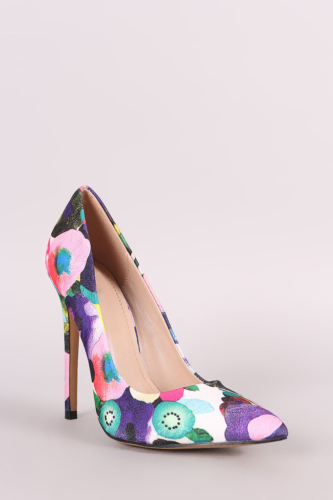Shoe Republic LA Abstract Floral Pointy Toe Stiletto Pump