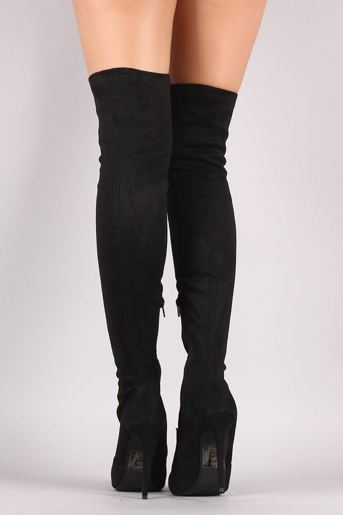 Shoe Republic LA Suede Pointy Toe Stiletto Over-The-Knee Boots