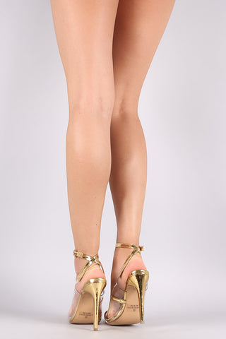 Liliana Lucite Metallic Pointy Toe Ankle Strap Stiletto Pump