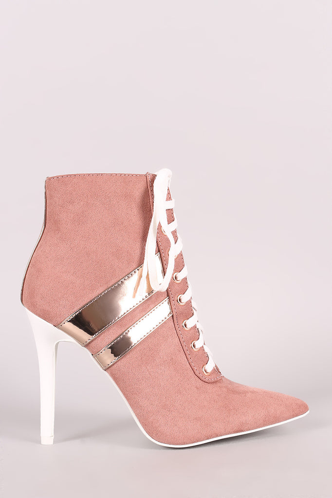 Qupid Sporty Lace Up Pointy Toe Booties