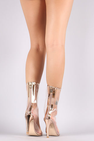 Metallic Trim Lucite Open Toe Heeled Mid Calf Boots