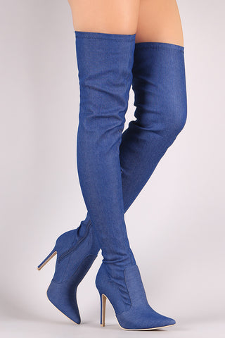 Delicious Back Lace Fitted Denim Peep Toe OTK Boots