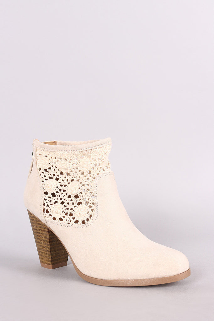 Qupid Crochet Chunky Heeled Ankle Boots