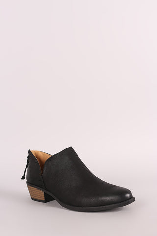 Qupid Slit Stacked Heel Booties