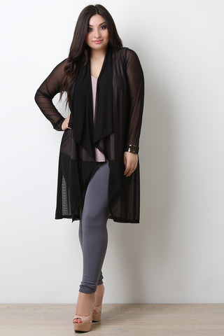 Mesh Long Sleeves Open Front Longline Cardigan