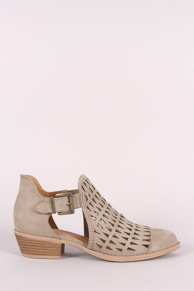 Qupid Suede Geo Cutout Buckled Booties