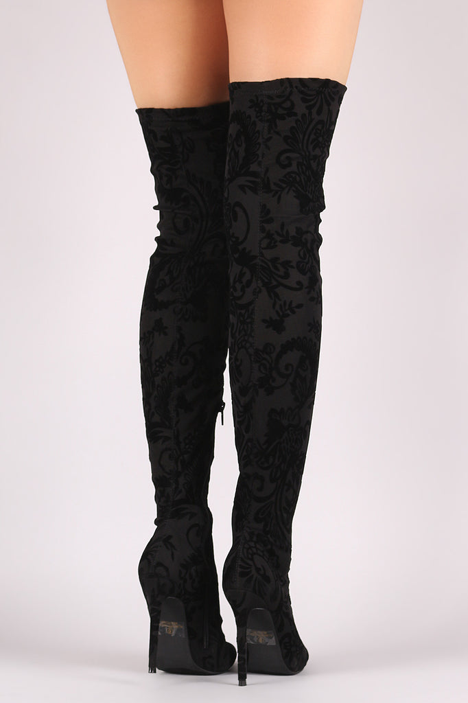 Liliana Fleur De Lis Burnout Velvet Stiletto Over-The-Knee Boots