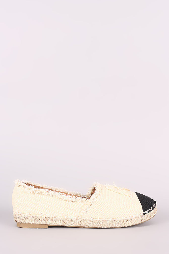 Frayed Denim Contrast Toe Cap Espadrille Slip On Loafer Flat
