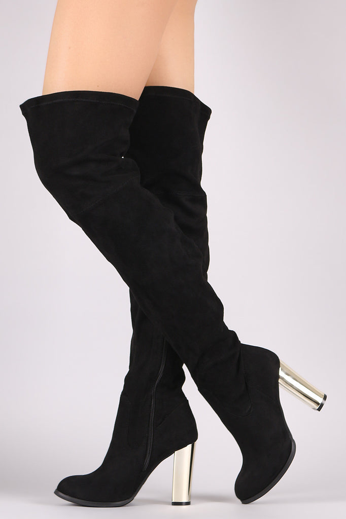 Qupid Suede Chunky Metallic Heeled Over-The-Knee Boots